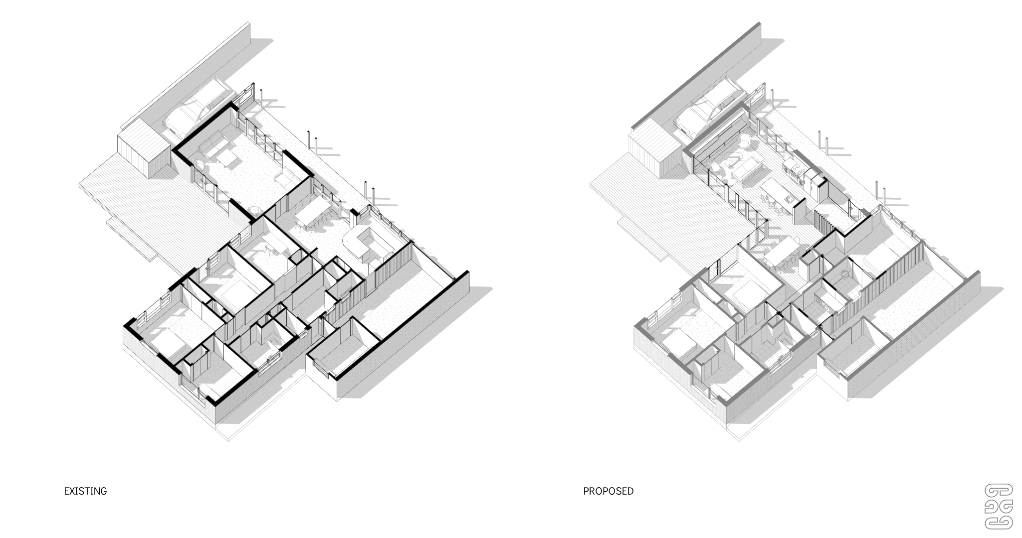 House Alterations - Hamilton, Axonometric