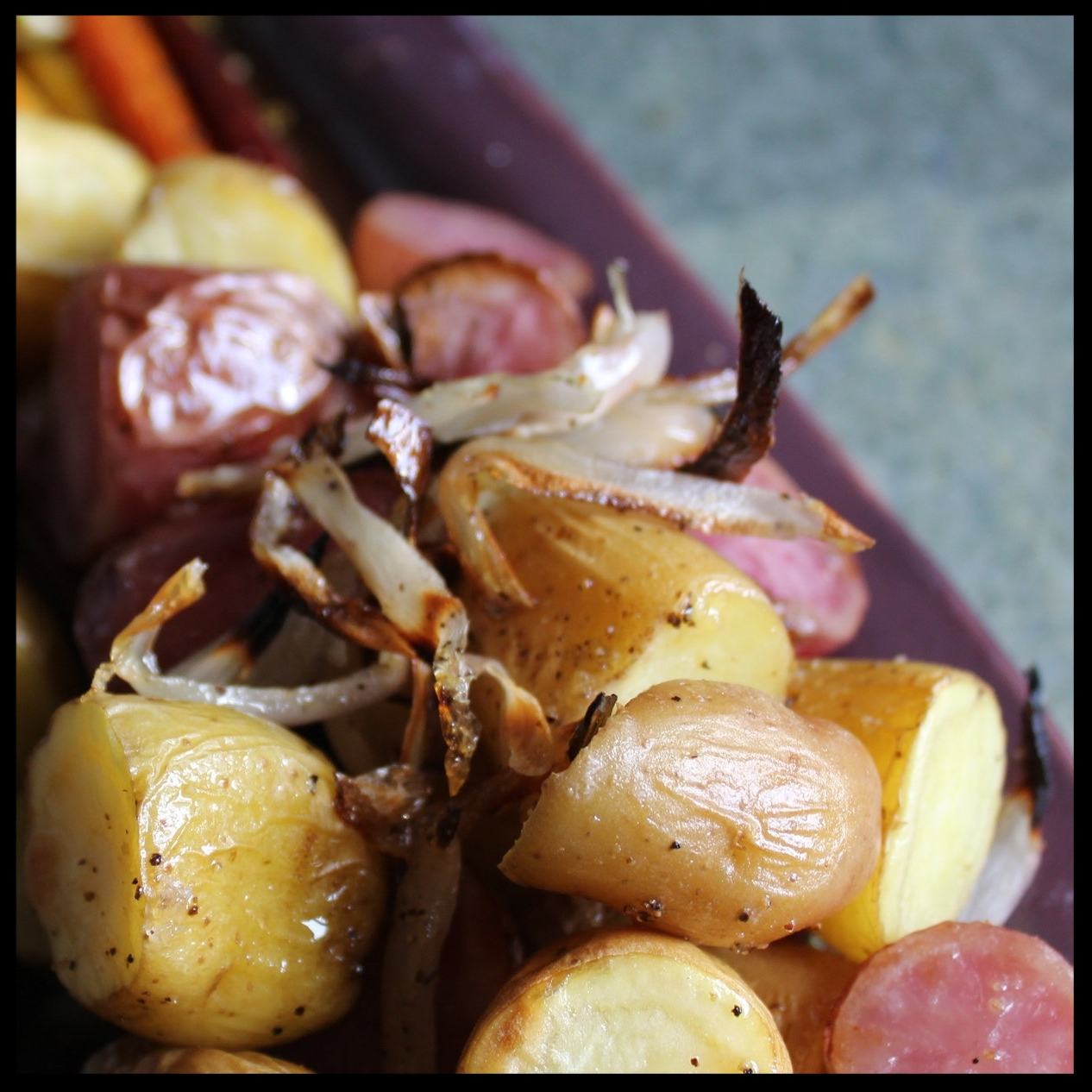 9. To serve the potatoes, smear some pesto on a plate and top with a mound of the potatoes, remembering to grab the shallots and pile on top.  10. Serve with some of the pesto on the side. Enjoy!