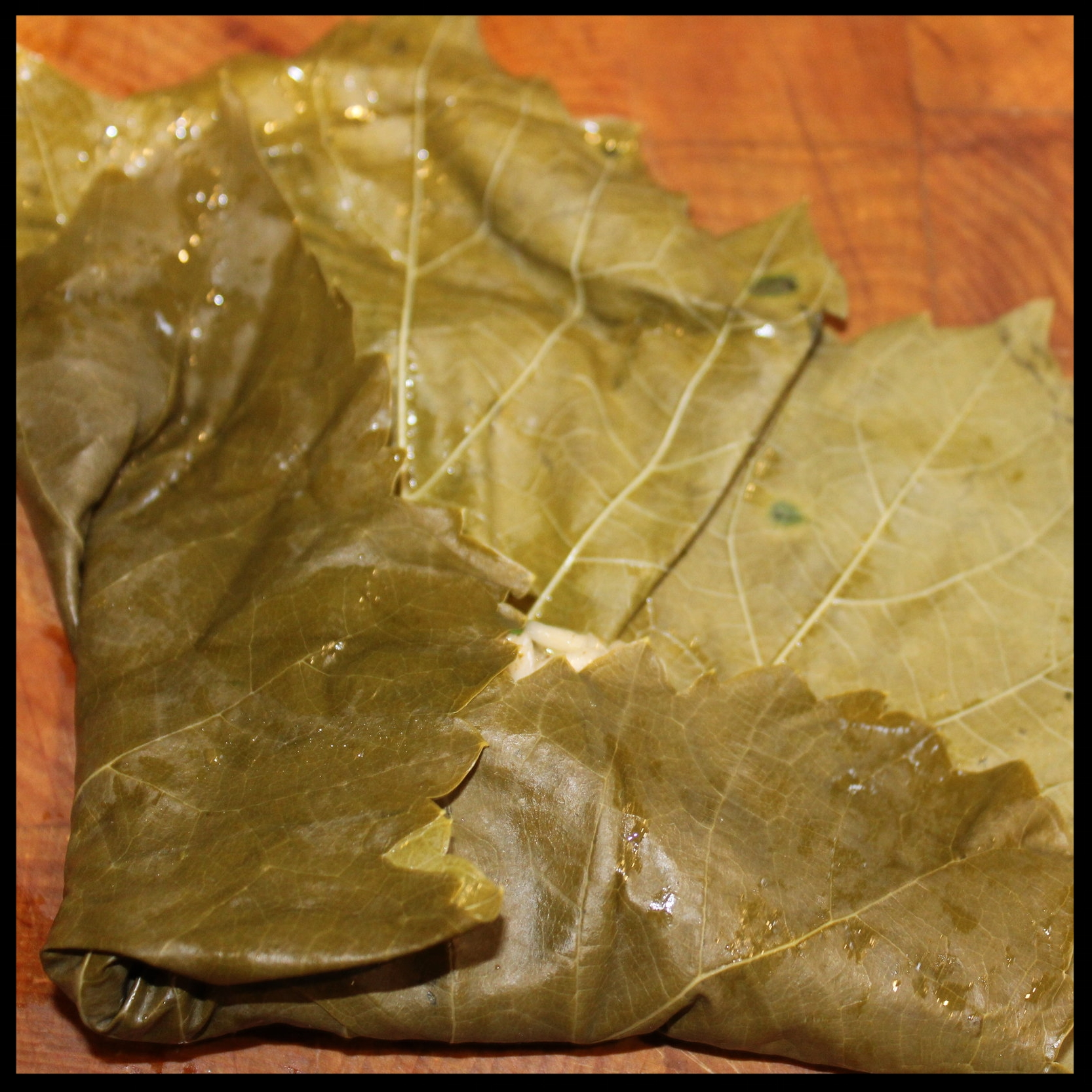 11.  Now gently fold the left side of the leaf over the filling.