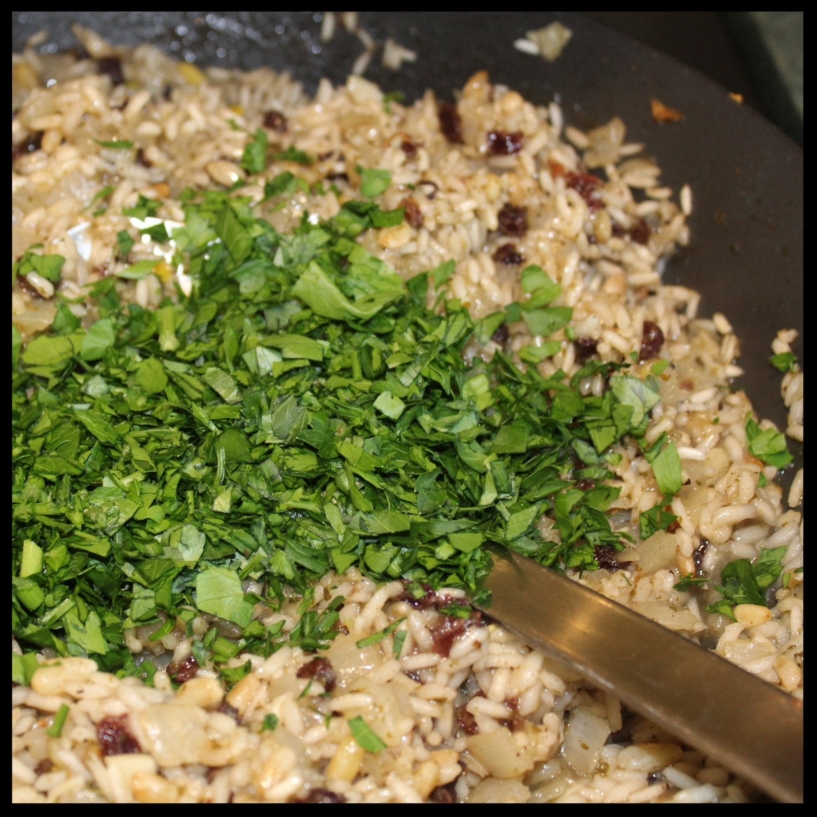 4. Stir in the chopped parsley.    KIDDOCJJ Tip: if you aren't a vegetarian, at this point you can add a cup or 2 of ground beef, or lamb, or a combination of the two for more savory dolmas.    5. Now taste that rice and adjust the seasoning with salt and pepper, and more lemon juice, if needed.