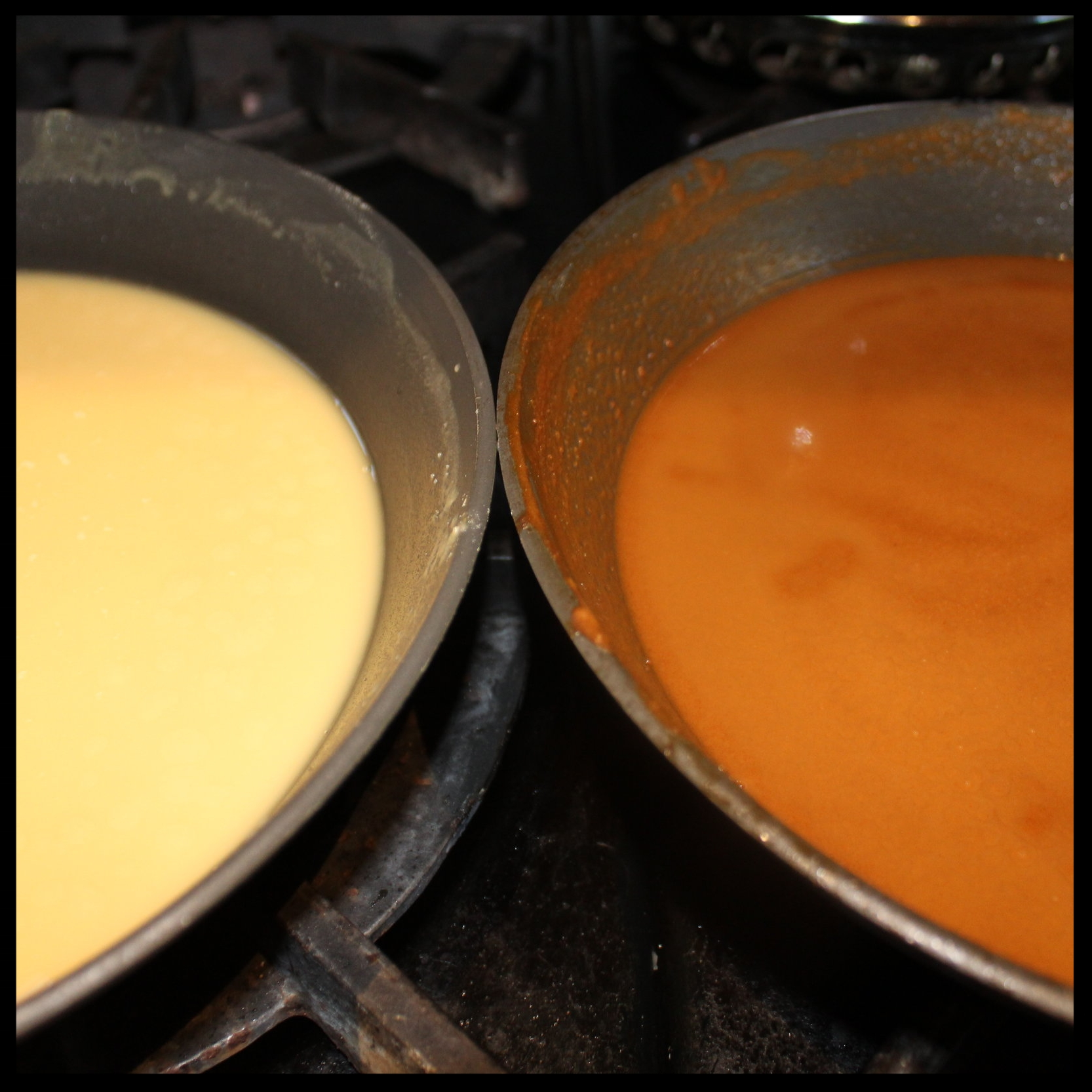 60 minutes:   The baked roux isn't even coming close to the rich brown roux that we see on the right. This darker brown variation will lend tons of flavor to your gumbo. The down side to a long-cooked roux is that the starches in the flour start to break down and are less apt to thicken as effectively as a lighter roux, but do lend a ton of flavor. The solution? Add more roux to your stock, or use gumbo file, or okra to punch up the thickening power.