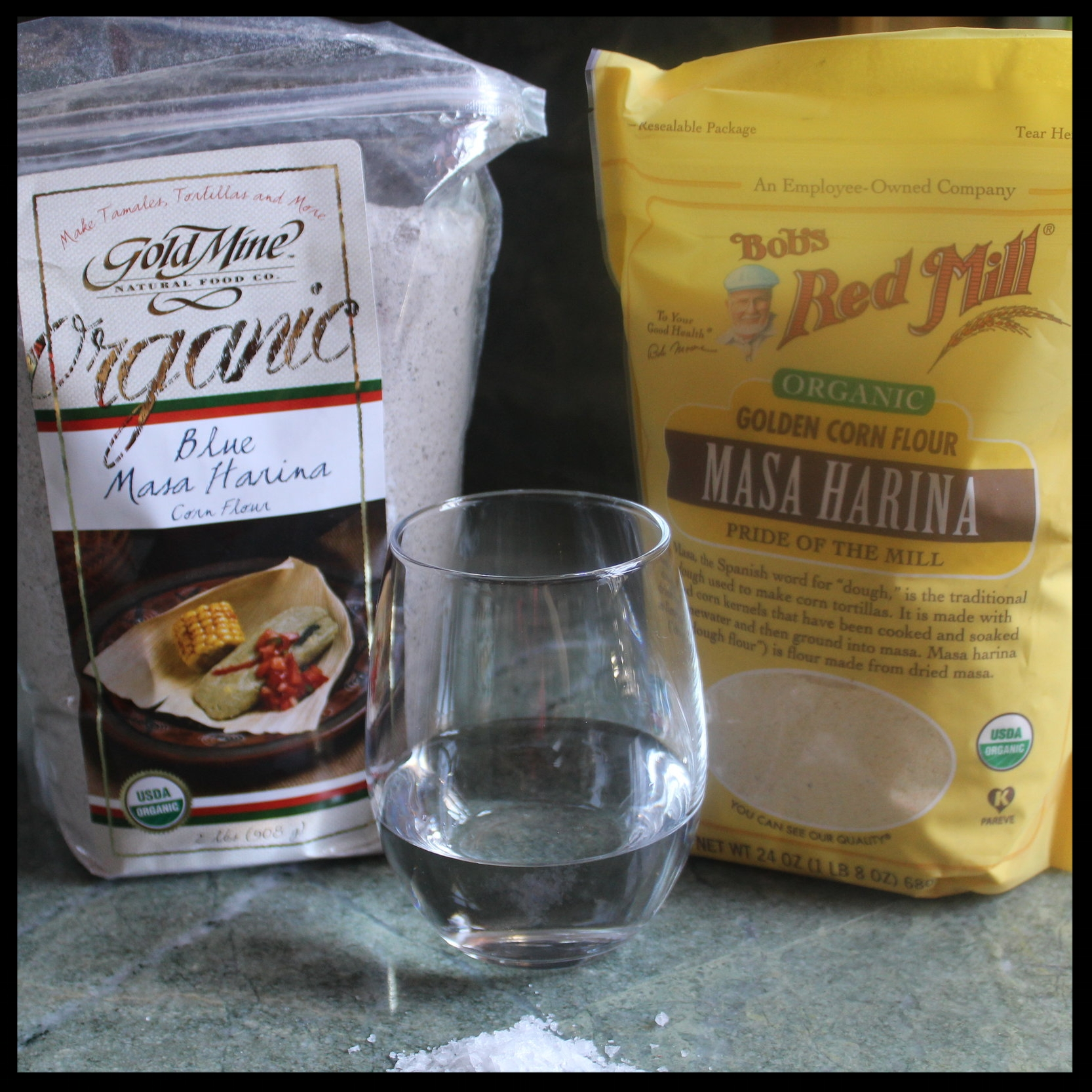 INGREDIENTS   - 2 cups masa harina (I used 1 cup each of  blue  and golden)  - 1 tsp kosher salt  - 1 1/4 cup water