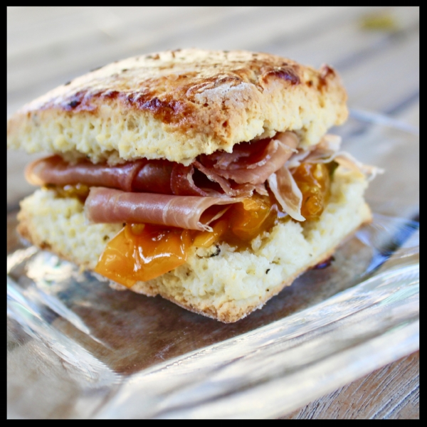 Virginia Willis  likes to serve hers with a pear mostarda and ham....for me, it's Cali Style: prosciutto, fresh tomato jam, and if you have it, a little fresh goat cheese!