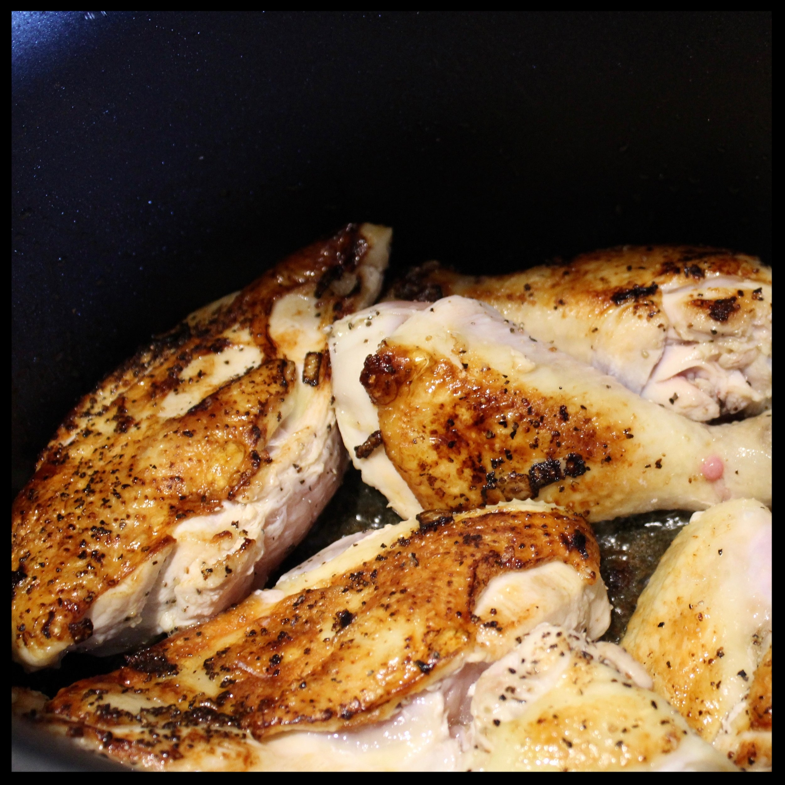 2. Remove the mushroom/onion mixture from the pan, add a little more oil, and sear the chicken parts on medium high (without moving) for 4-5 minutes.