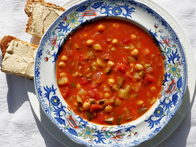 Moroccan Roasted Red Pepper and Chickpea Soup with Zucchini
