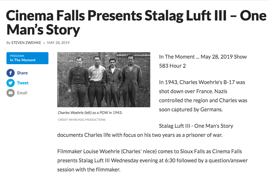 To listen to radio interview click here:  https://listen.sdpb.org/post/cinema-falls-presents-stalag-luft-iii-one-man-s-story