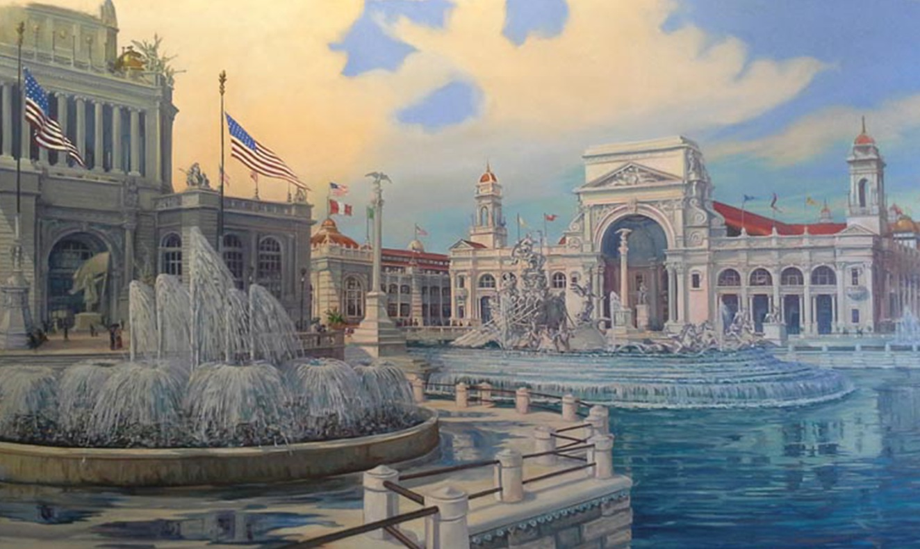 West end of the Grand Basin featuring Frederick William MacMonnies' Barge of State Fountain and the Electric Building beyond with Electric Fountains  — Painting in Progress in Studio —