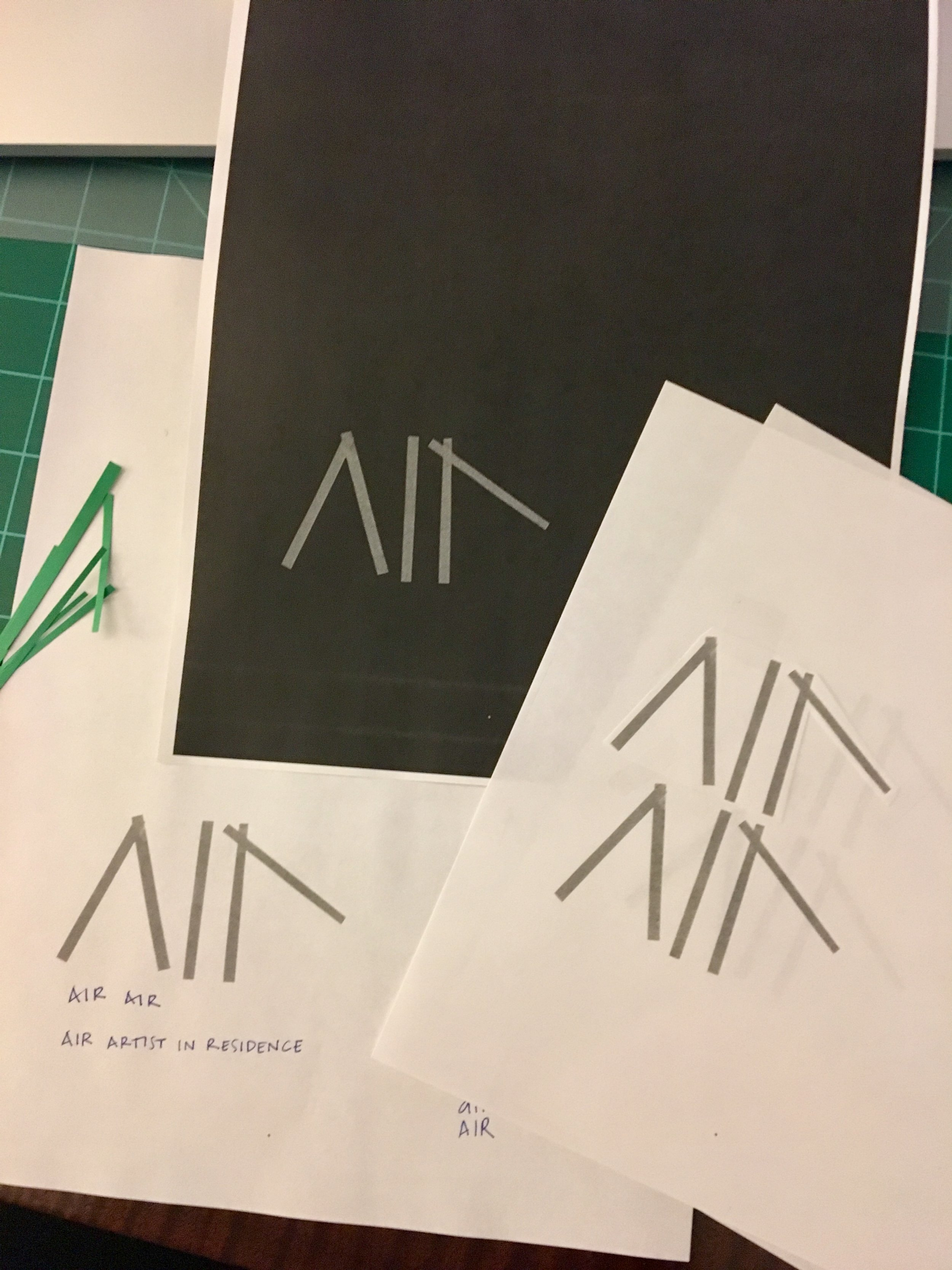 Air Air // logo development with cut paper, in progress