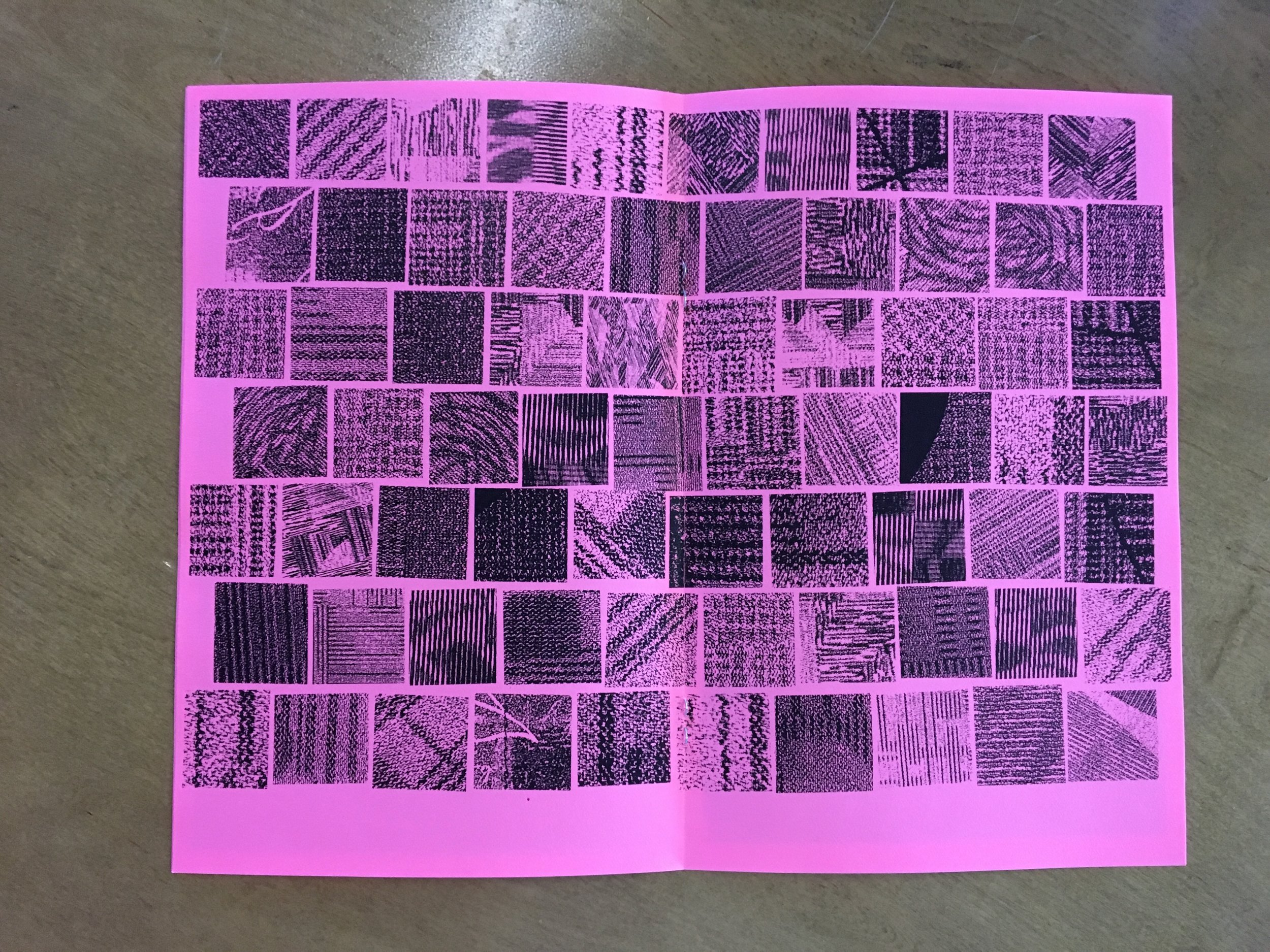 ALONE // Airport Carpet Zine: final book layout (centerfold)