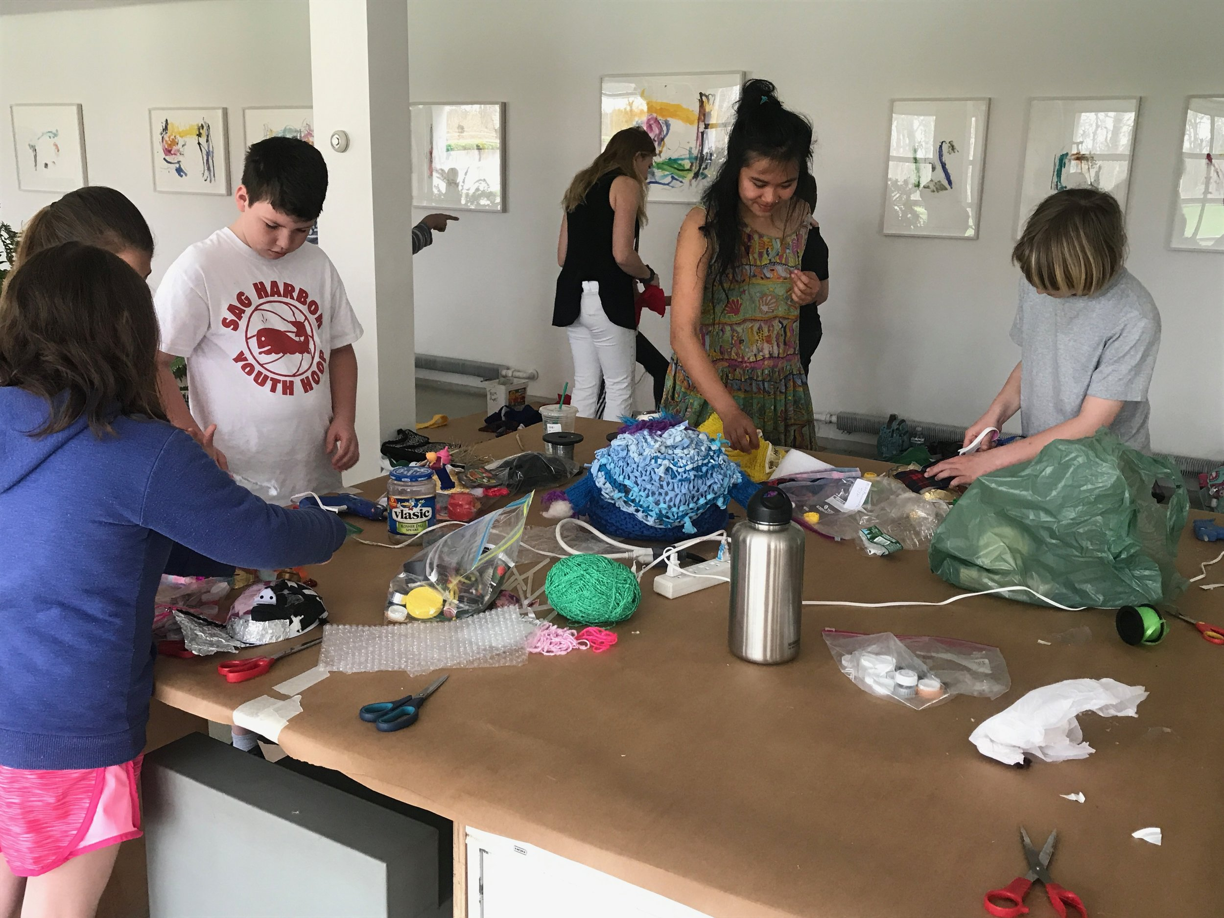 Beginning to make masks in the Watermill Center's beautiful studio!