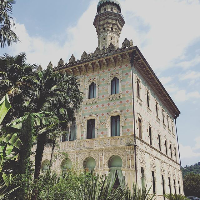 Villa Crespi.  A 19th-century Moorish-Italianate palazzo converted to a 14-room luxury hotel and restaurant, near the shores of Lago D'Orta in the town of Orta San Giulio, Piedmont, Italy. It is notable for its scenic tall minaret-like tower. Unexpected Arabesque detailing everywhere. #italianlakes #formerglory