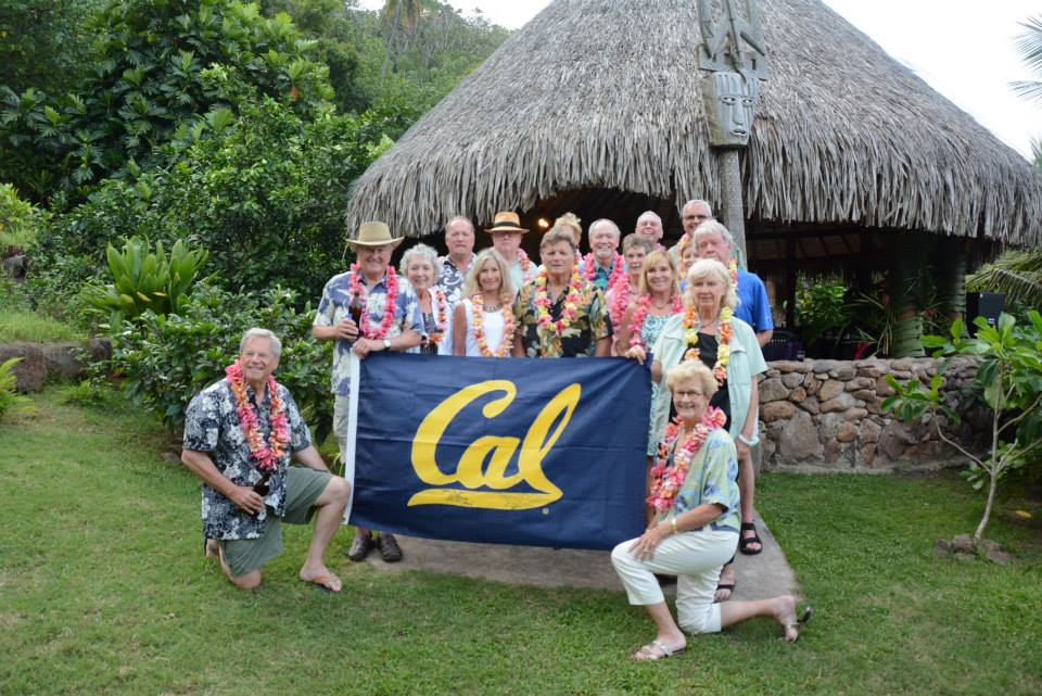 Visit of friends from UC Berkeley. Picture taken in front of the  Fare Matarau , a structure funded by the SEACOLOGY foundation.