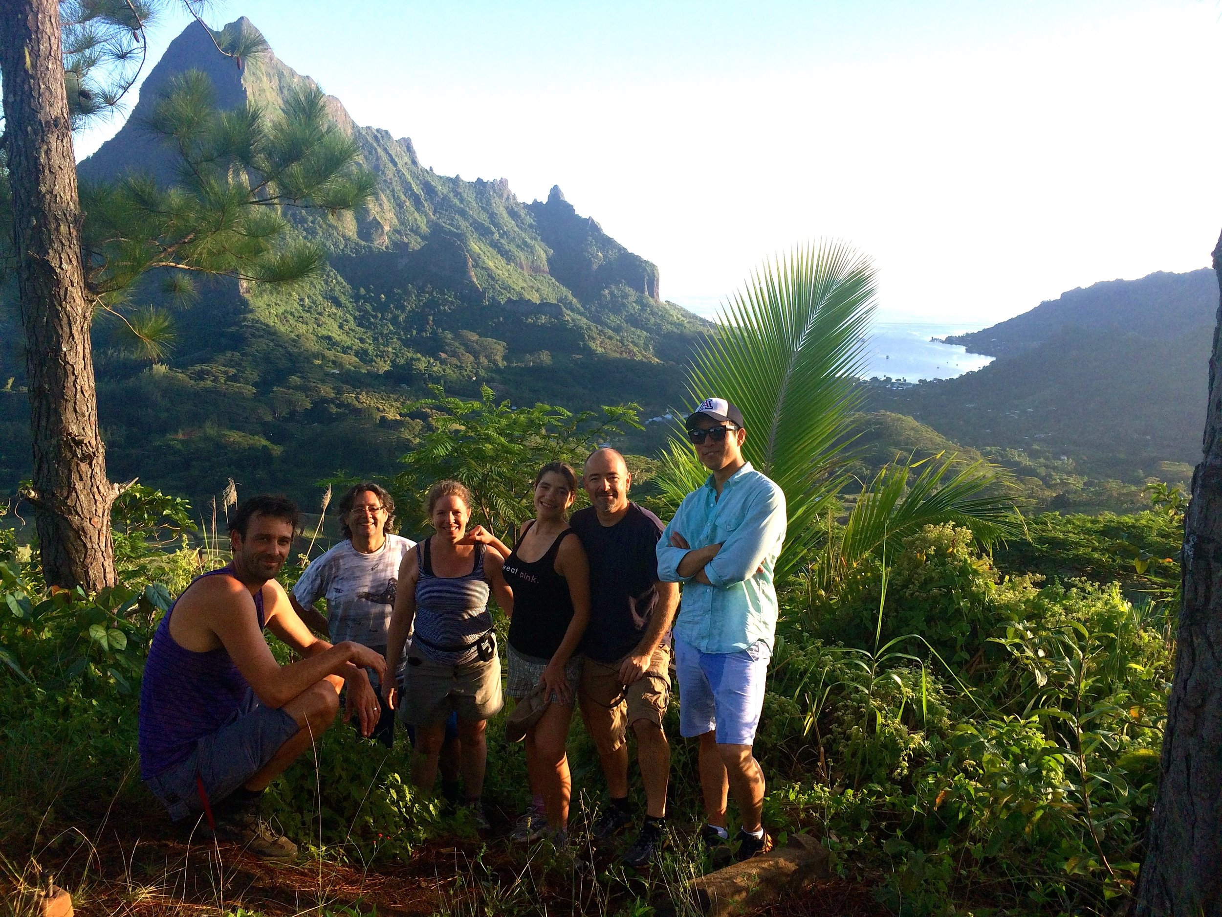 End of our morning hike with the Moorea IDEA science team. Ready for productive work day.