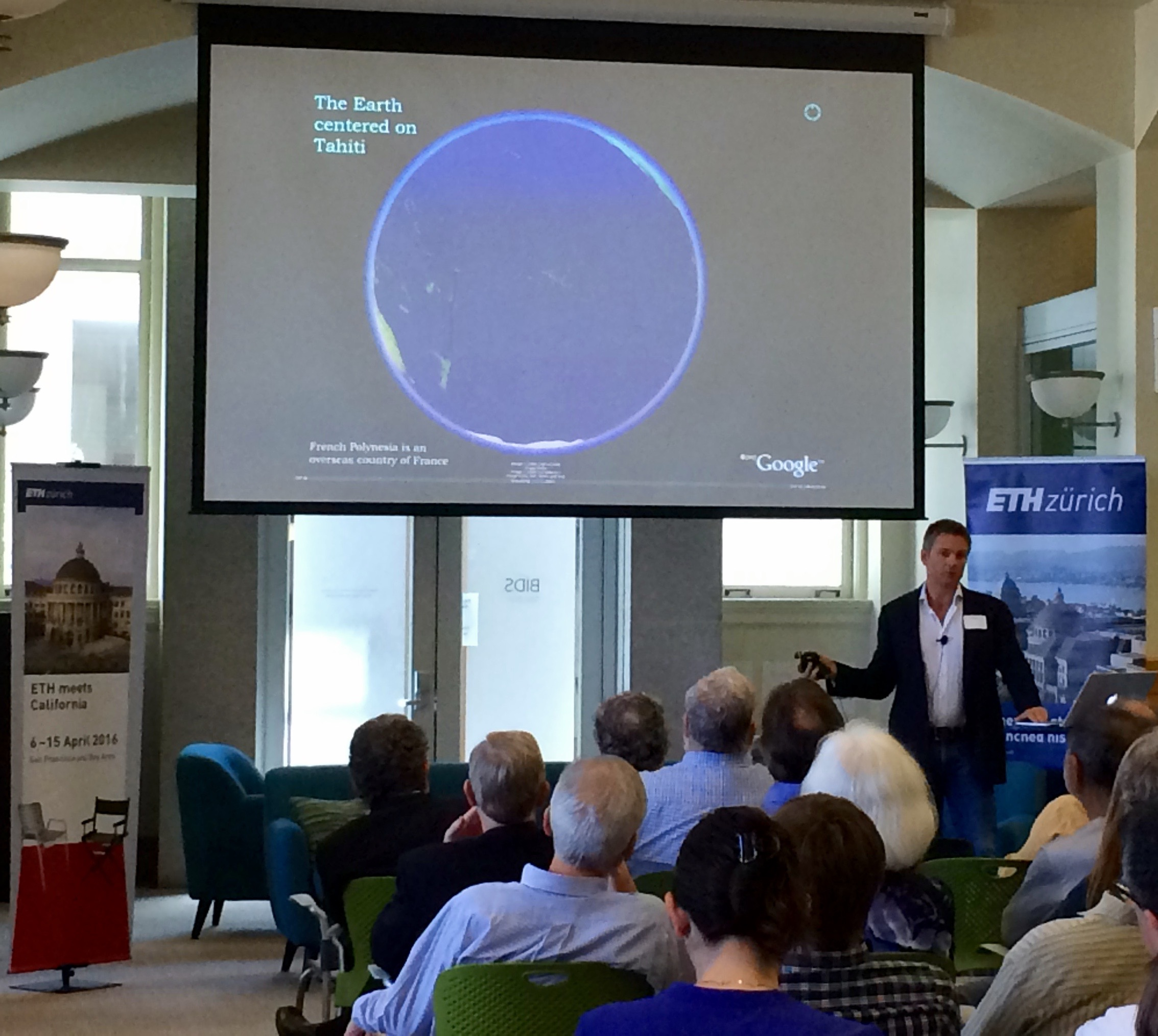 Dr. Neil Davies, Executive Director of the UC Berkeley Gump Station presenting the Moorea IDEA project at BIDS - Berkeley Institute for Data Science.