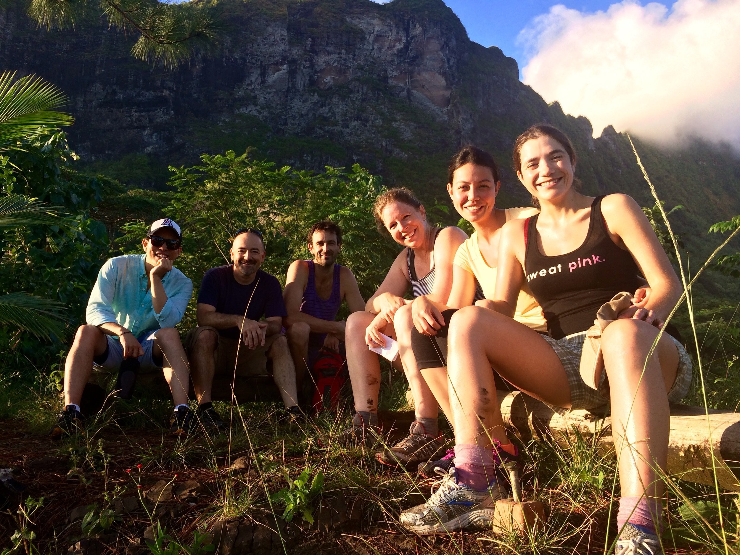Early morning hike with the Moorea IDEA scientists during a 4 day workshop on the island.