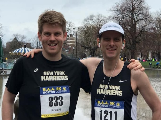 Robin Kennedy and Daniel Goldstein just before crushing the BAA 5K race on Saturday