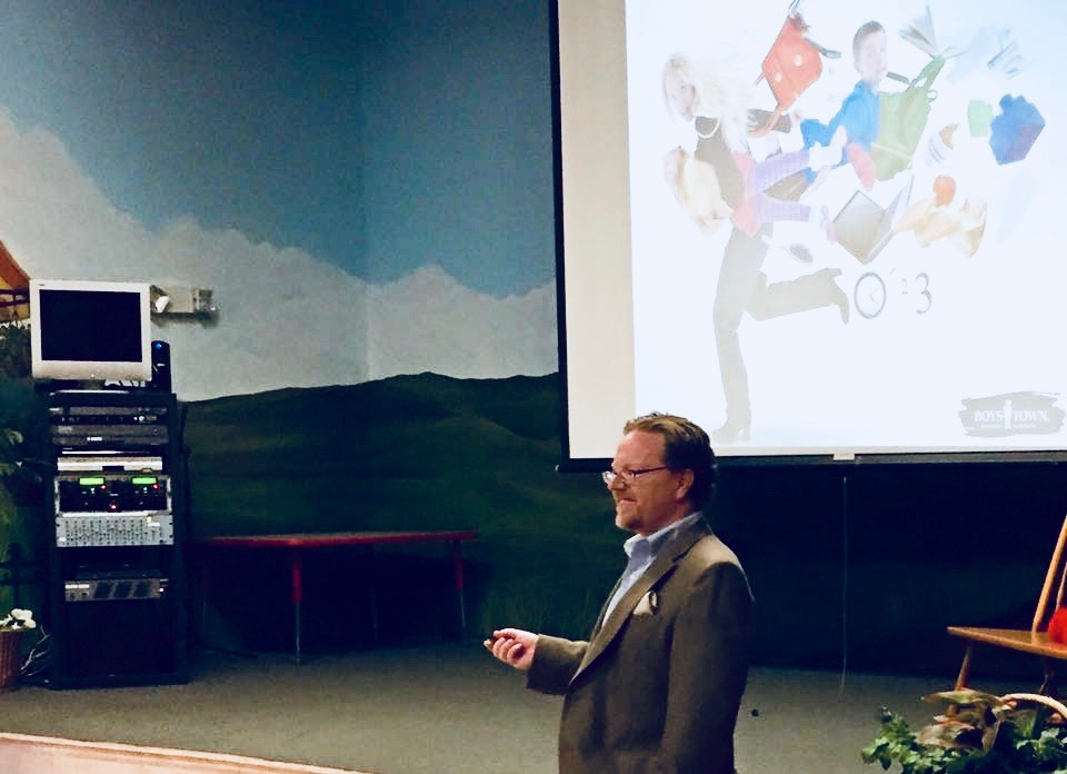 Dr. McGinnis offering a talk for parents on how to bring out the best in their children and how to make it a great school year, at the Ideal School of Leadership in Royal Palm Beach, Florida