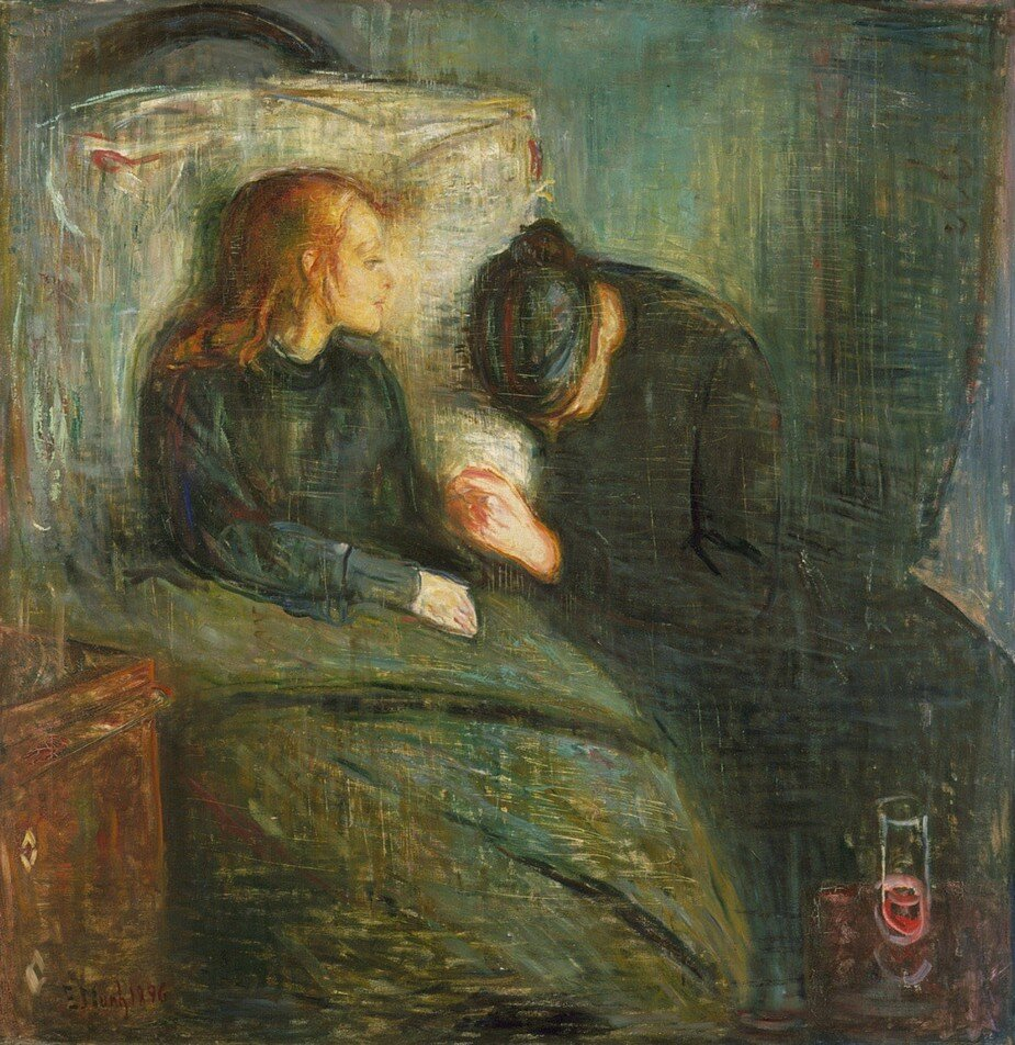 Where youth grows pale, and spectre-thin, and dies;Where but to think is to be full of sorrow – John Keats c.1820 - The sister of painter Edvard Munch (The Scream) died of tuberculosis. It haunted him.