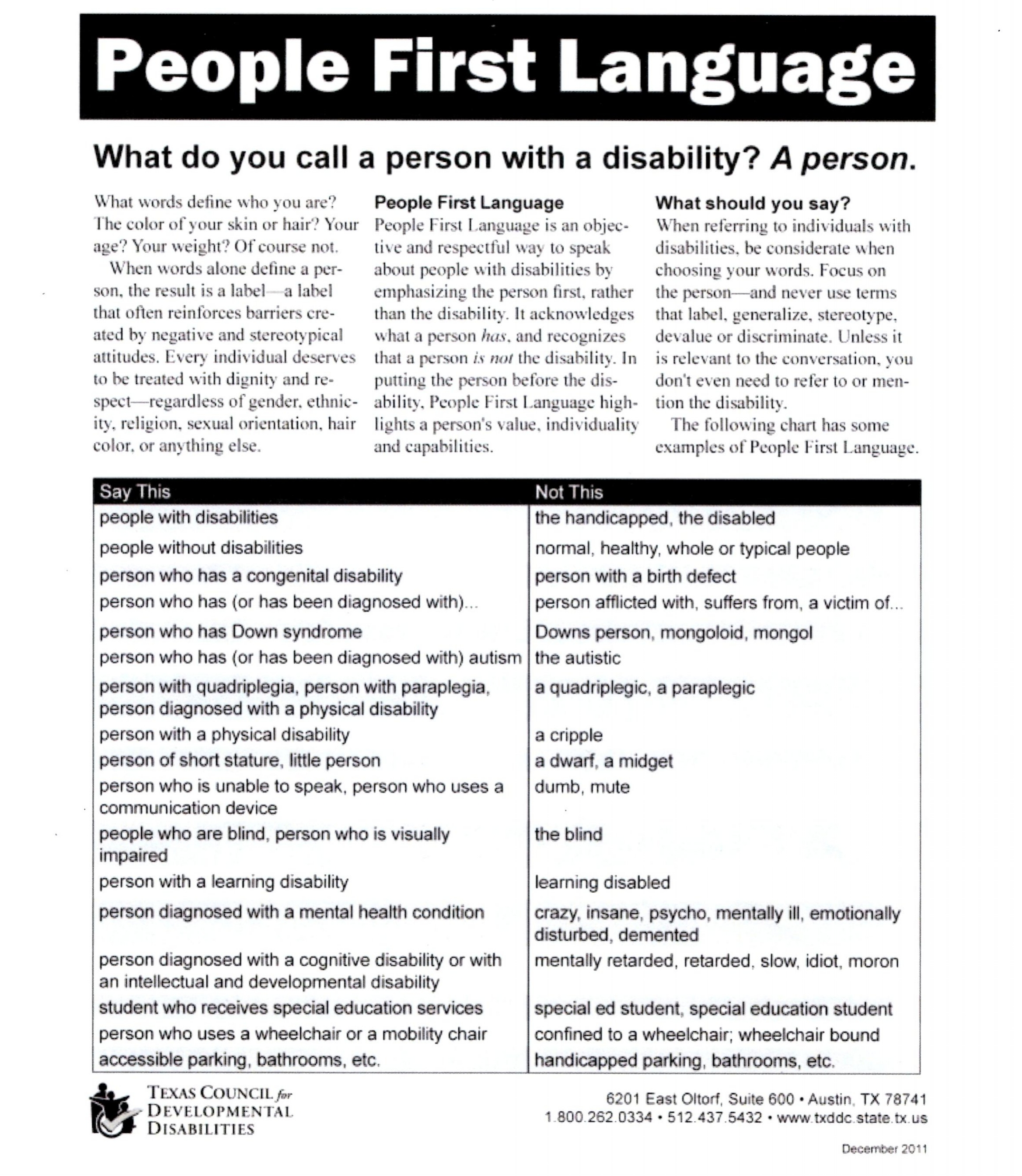 """People First Language"" guidelines included in the Volunteer information packet. Brief introduction followed by two columns ""Say This"" ""Not This"" in black lettering on a white background."