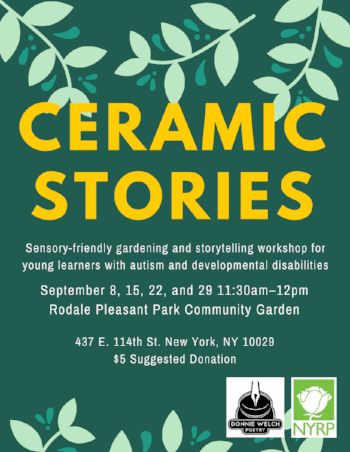 "Flyer for a program called ""Ceramic Stories"" Cartoonish vines grow from the top, followed by the title in bold yellow letters and the details in smaller white lettering. In the bottom right are logos and finally a border of vines appear to grow up from the bottom. All on a dark green background."