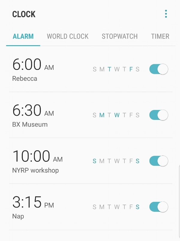 Four alarms set on a smart phone at various times: Rebecca School 6am on Tuesdays and Fridays, BX Museum 6:30am Monday and Wednesday, NYRP Workshop 10am on Saturday and Sunday, and Nap 3:15pm on Sunday. A light blue slide shows us that all the alarms are currently turned on.
