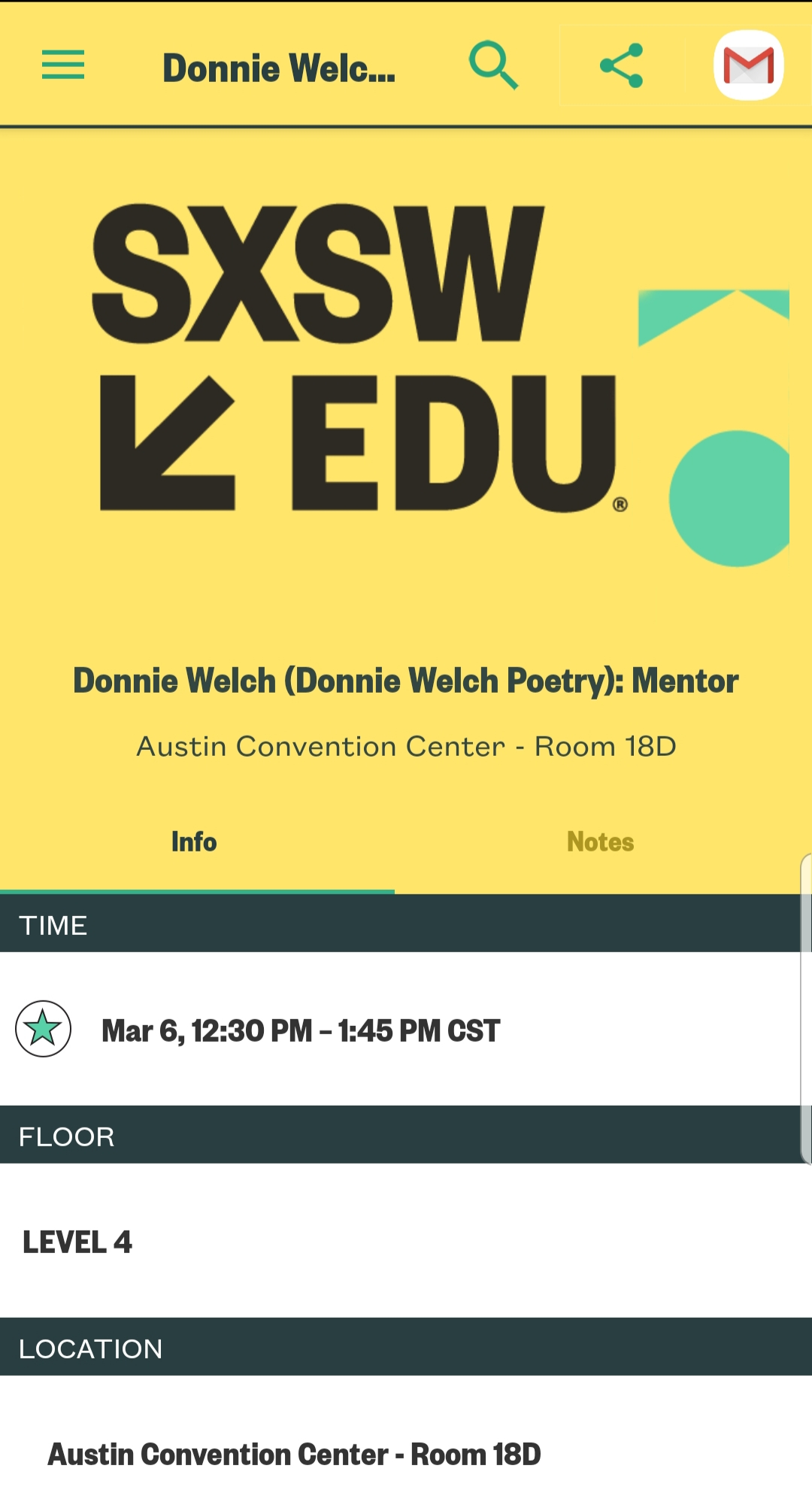 Screenshot from the SXSWeud App with the SXSW logo and a bright yellow background up top. Below that in tiers of information are the details and location to a mentor session with Donnie Welch
