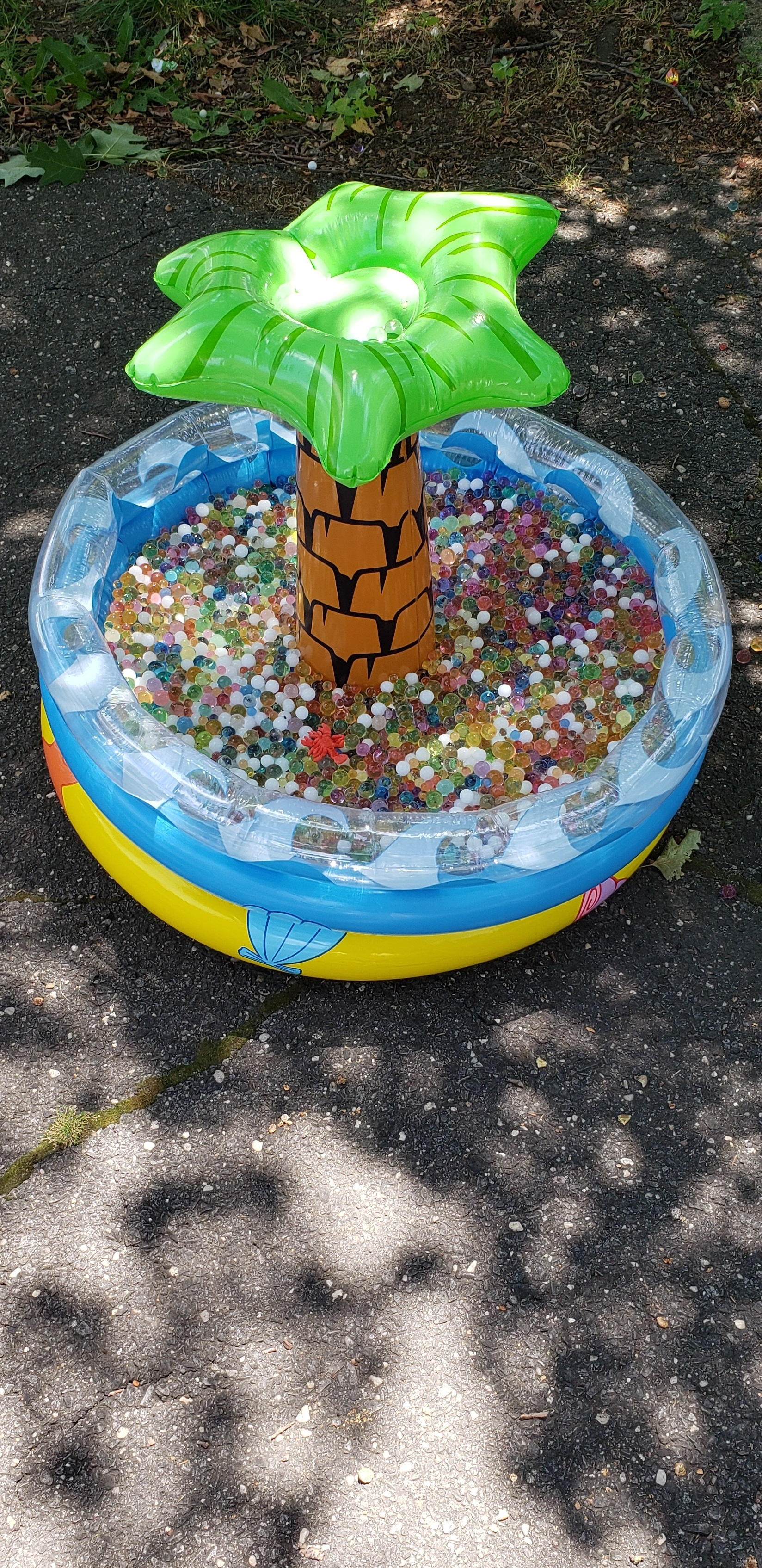 Inflatable, plastic swimming pool with an inflatable palm tree in the middle of it situated on a piece of asphalt. The pool is filled with water-bead sensory materials.