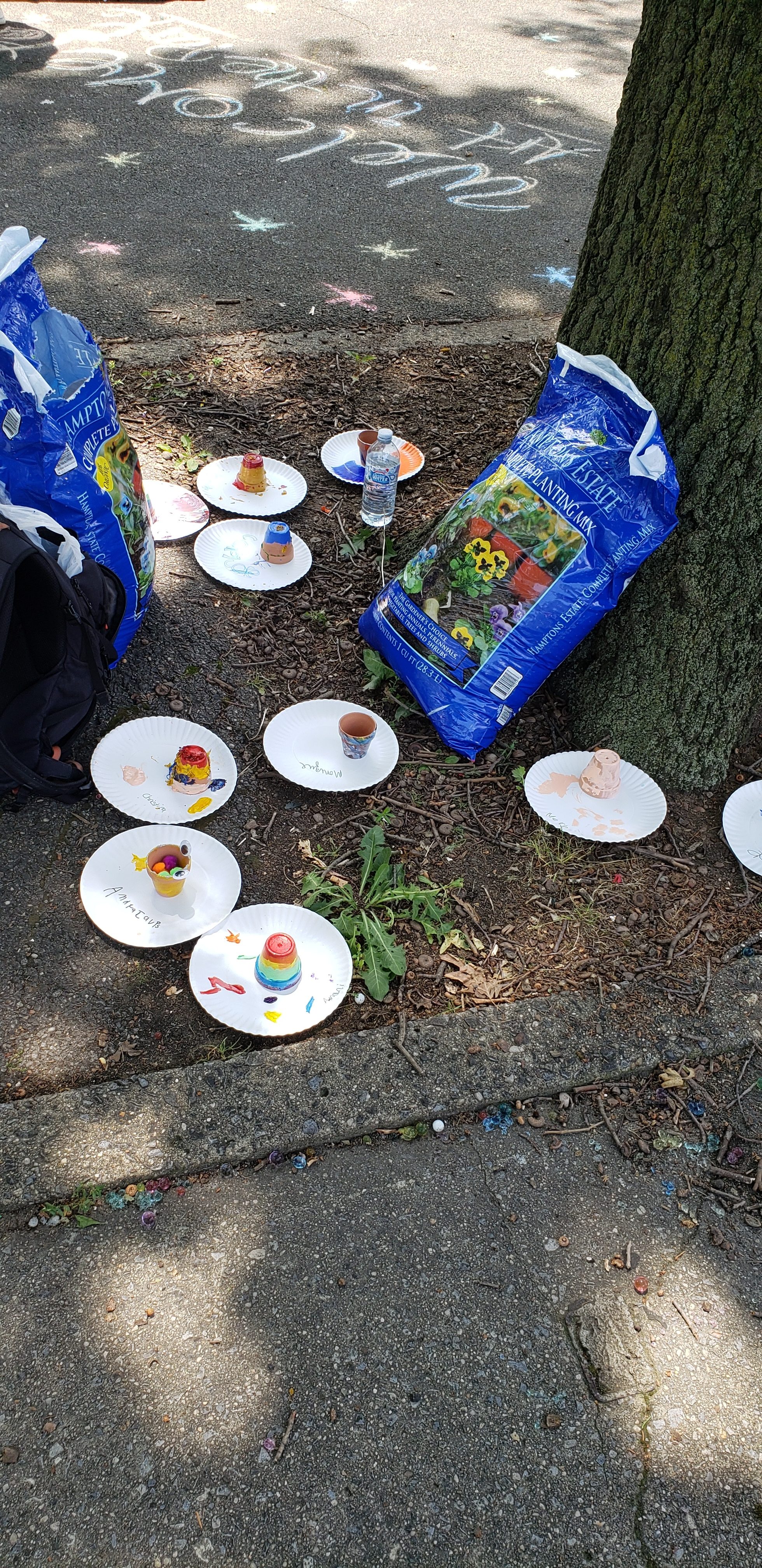 Painted flower pots arranged on plates dry beside a tree. There are names on the plates that denote whose pot is whose, but the writing is difficult to discern at this distance. In the middle of the pots are two large bags of soil. In the background can be seen a sidewalk chalk welcome to Autism Family Fun Day.