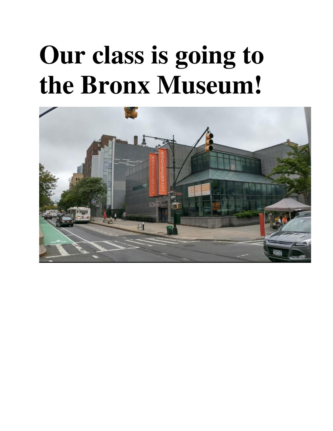 Image of a social story page with a picture of the Bronx Museum exterior and the words in large, bold type face.