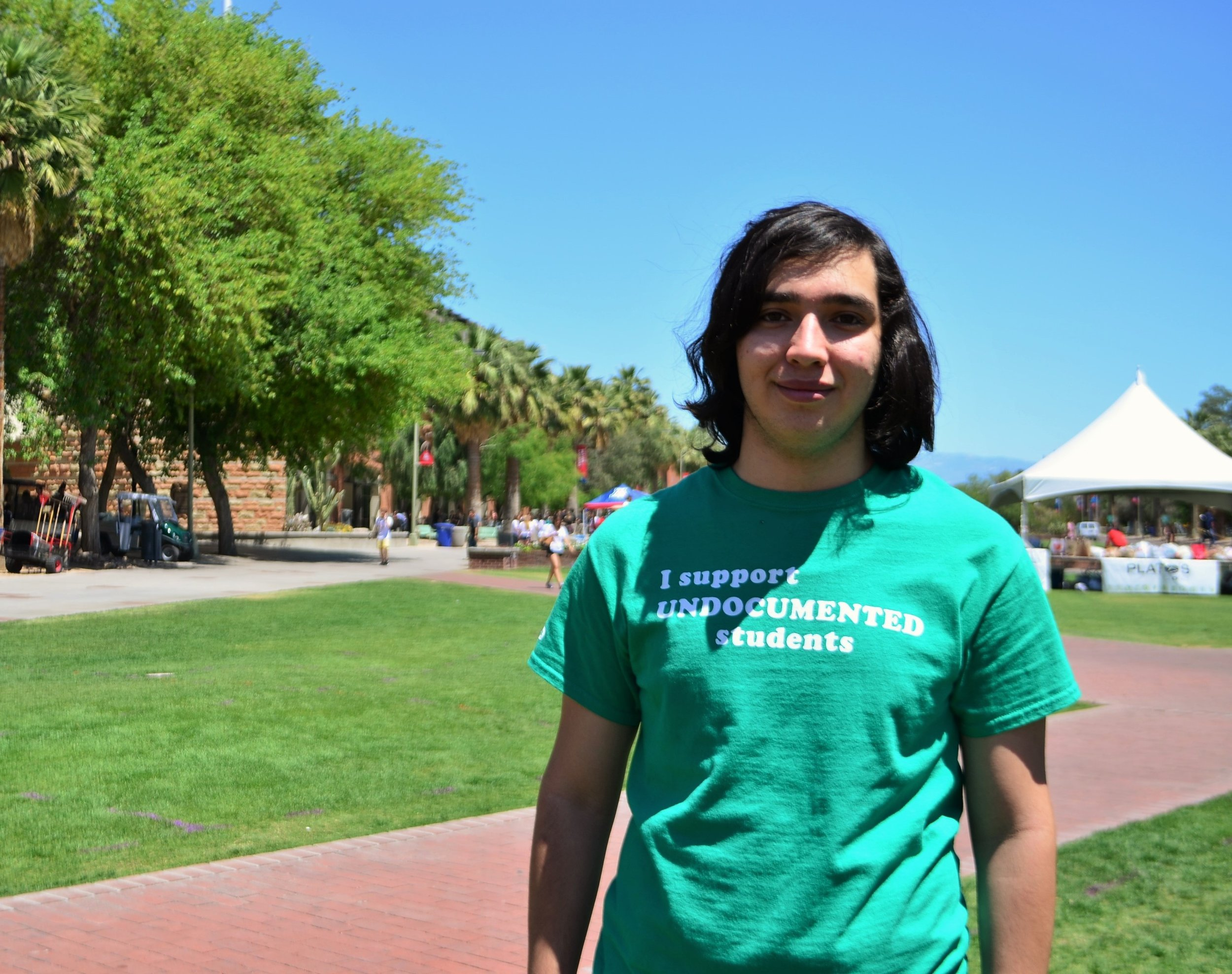 Dario Andrade Mendoza protesting at the University of Arizona. He and other undocumented students demanded in-state tuition as long-time residents of Arizona.