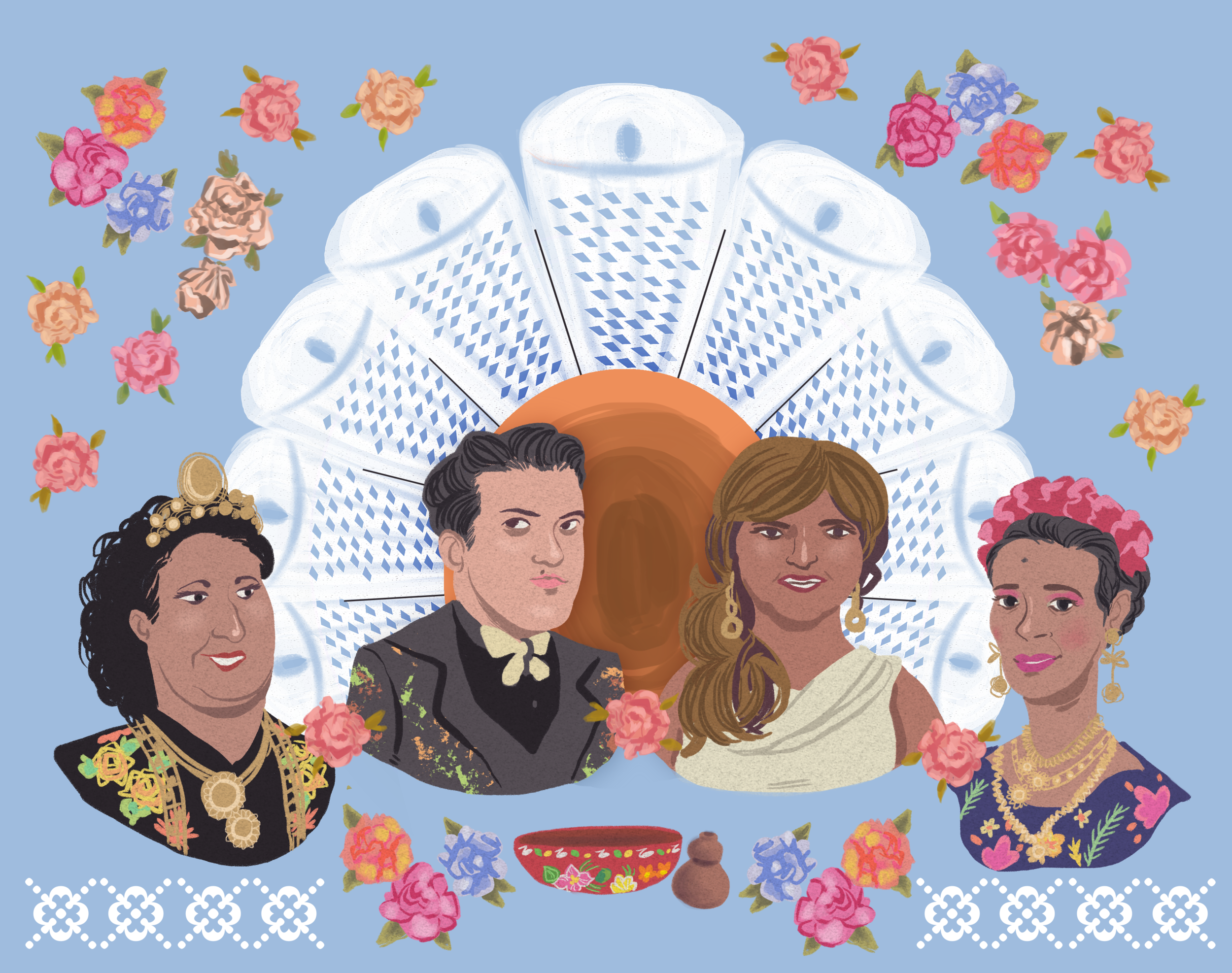 Left -Right: Michel Del Toro, Nestor Pablo Villegas Esteva,Henry Gerónimo López, Naomy Mendez Romero and Jorge Tonche as represented by the ceremonial headpiece, bowl and gourd. 'Soy, Muxe' artwork created by Mexican comic artist Berenice González Méndez aka Bere Weilschmidt,fund her latest queer themed comics on  Patreon .