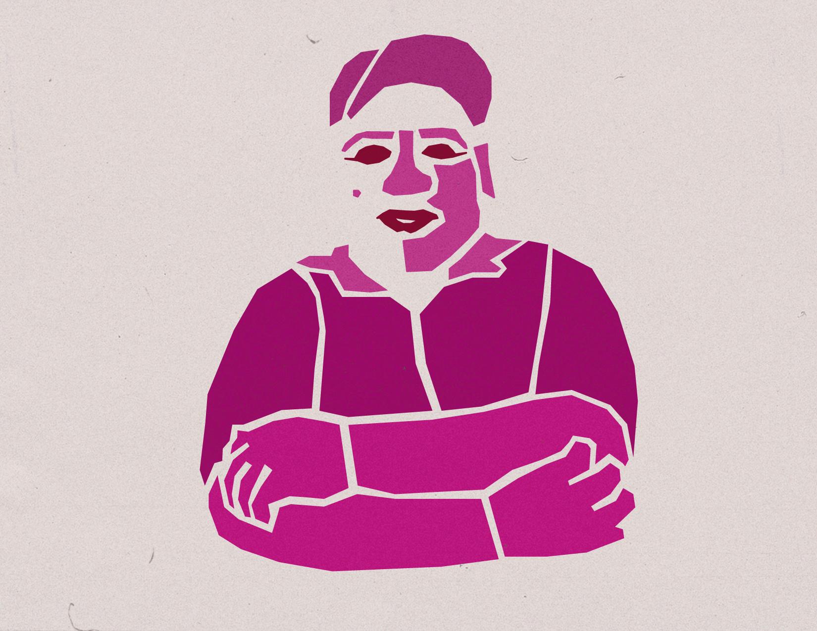Portrait of Maria Nava Borjas by queer Tijuana based artist Simon Malvaez - more of Simon's work on  behance .