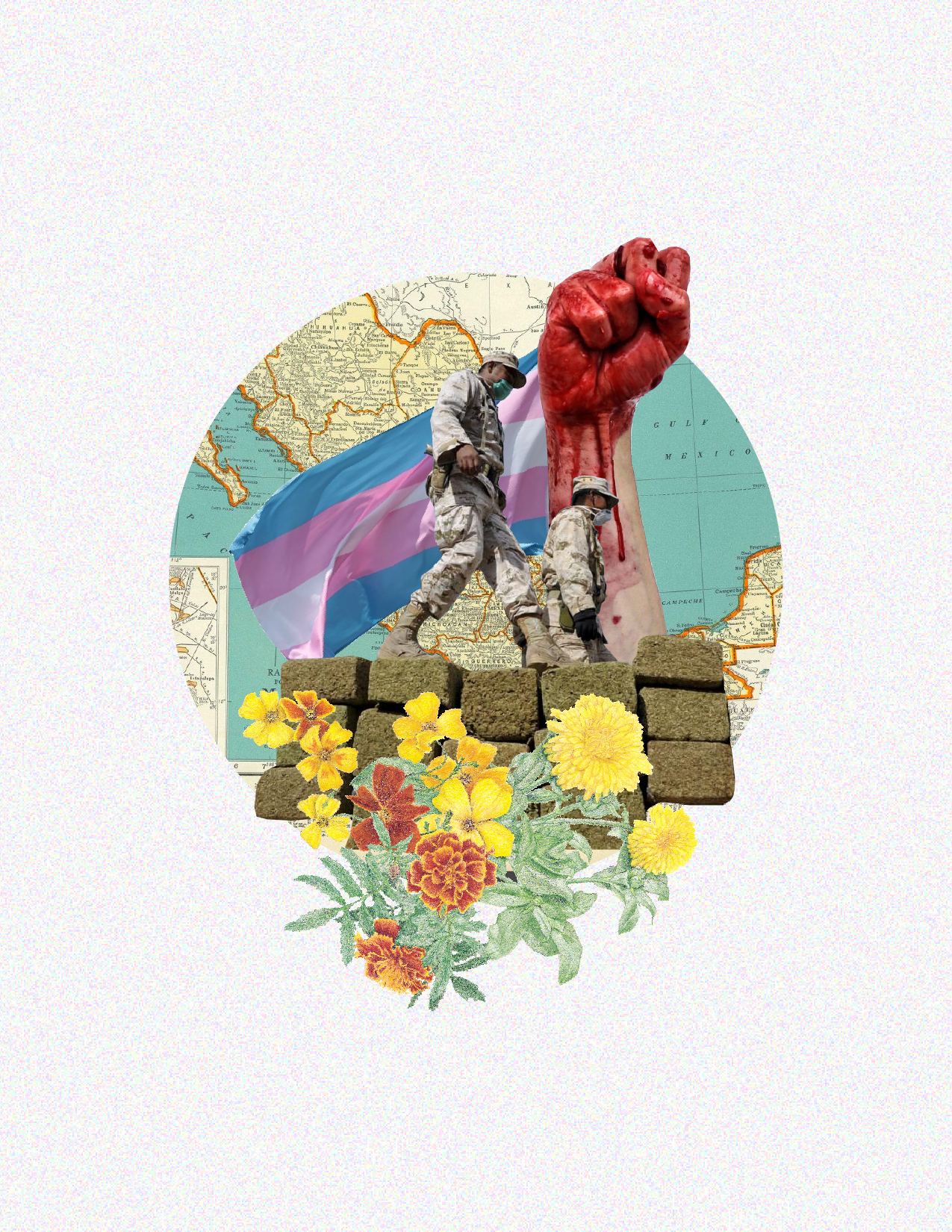 Collage by queer Tijuana based artist Simon Malvaez - you can support Simon's work here on  behance .
