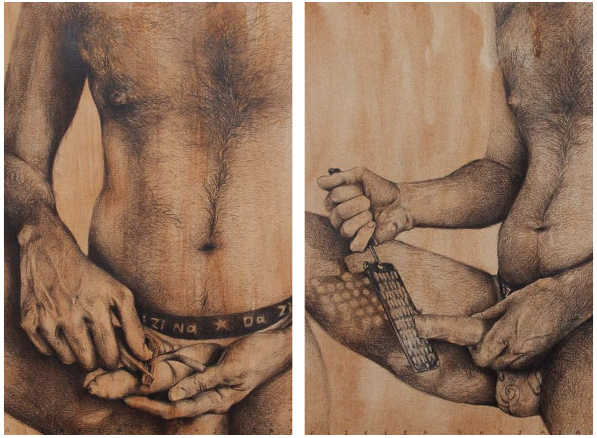 """Above: 'Salad Season Series' selected pieces. Explores the pain of hidden identity. """"I wanted to show how we feel the pain. It's a guy peeling, cutting the carrots, but put in a position that you feel he is cutting his body, to show the pain someone that is not accepting his sexuality, his identity."""""""
