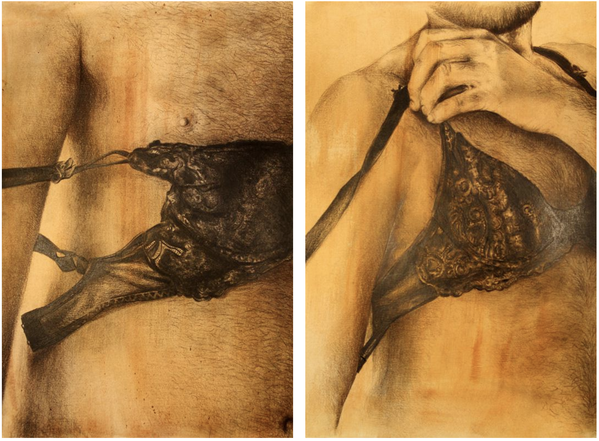 """Above: 'Middlesex Series' selected pieces. """"I was not trying to do anything as activism, it was my personal things just to come out, like after a while of not talking (about my sexuality)."""""""