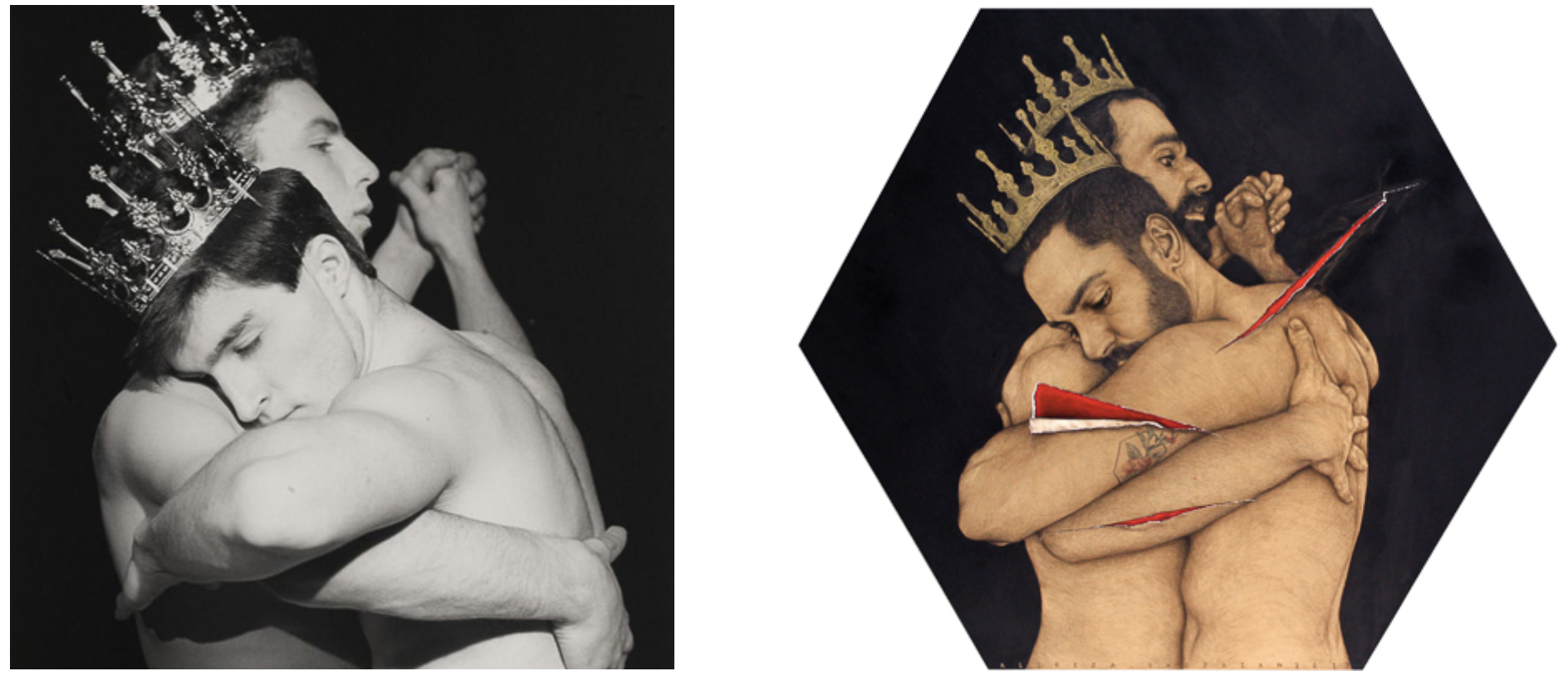 """Left: Mapplethorpe's  ' Two Men Dancing (1984)' , featured in a retrospective exhibition of his work titled 'The Perfect Moment', exhibited shortly before he succumbed to AIDS in 1989. Right: Shojaian's interpretation titled 'The Perfect Moment' aimed to challenge the audience on the concept of queerness and masculinities in the Middle Eastern context, """"I want to have a dialogue, to make this question mark for them, they are seeing two boys hugging""""."""
