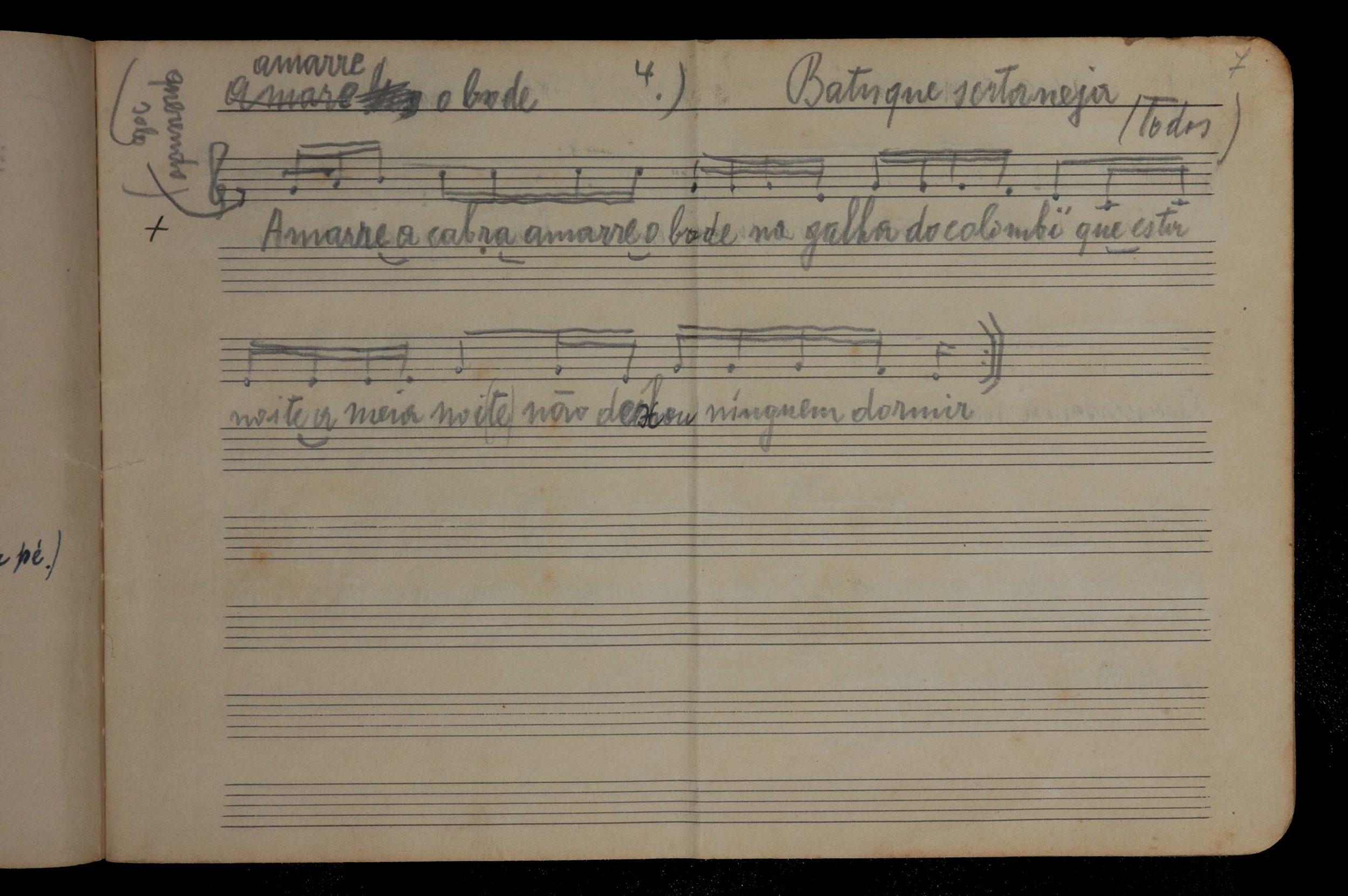 Caderno de Música / Missão de Pesquisas Folclóricas, 1938. Acervo Histórico DOA/CCSP/SMC, cód.: CAM-2 p.7.