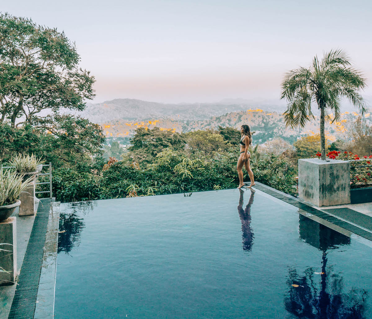 Infinity pool views at The Theva Residency in Kandy