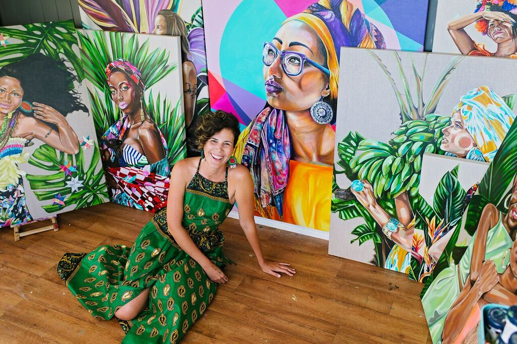 Tamara Armstrong pictured with pieces from her Women in Colour series