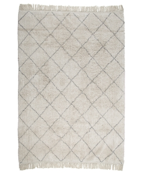 Cream & Gray Diamond Patterned Rug