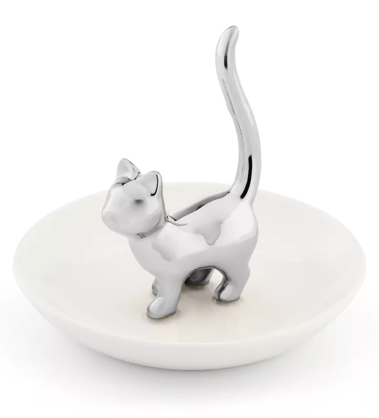 Silver Cat Jewelry Dish