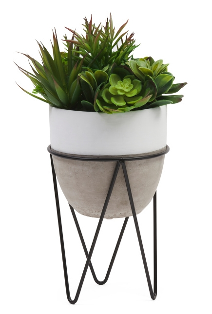 Faux Succulent Plant with Wire Stand