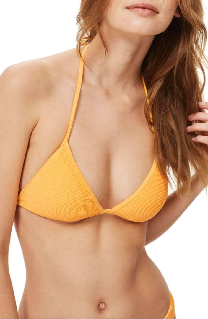 Shirred Triangle Bikini Top