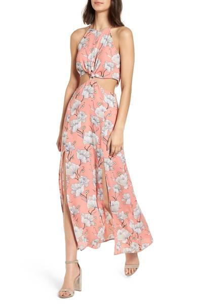 Lush Floral Cutout Maxi Dress