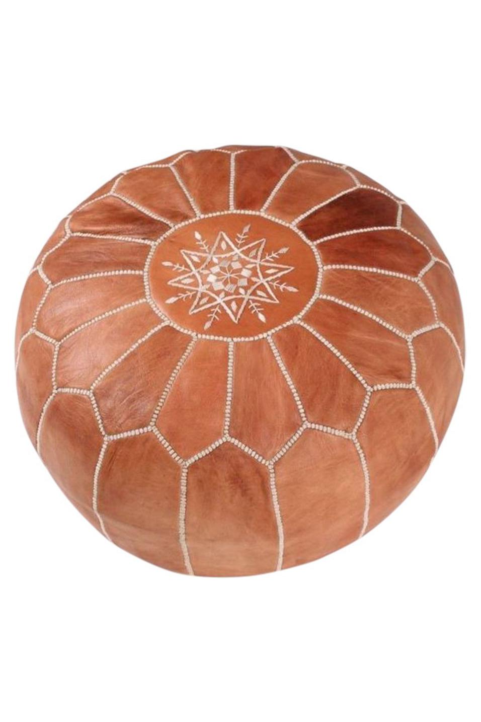 Handmade Leather Footstool Pouf