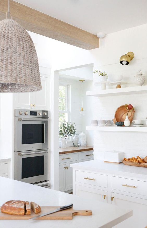 white kitchen, accent lamp, butcher block counter