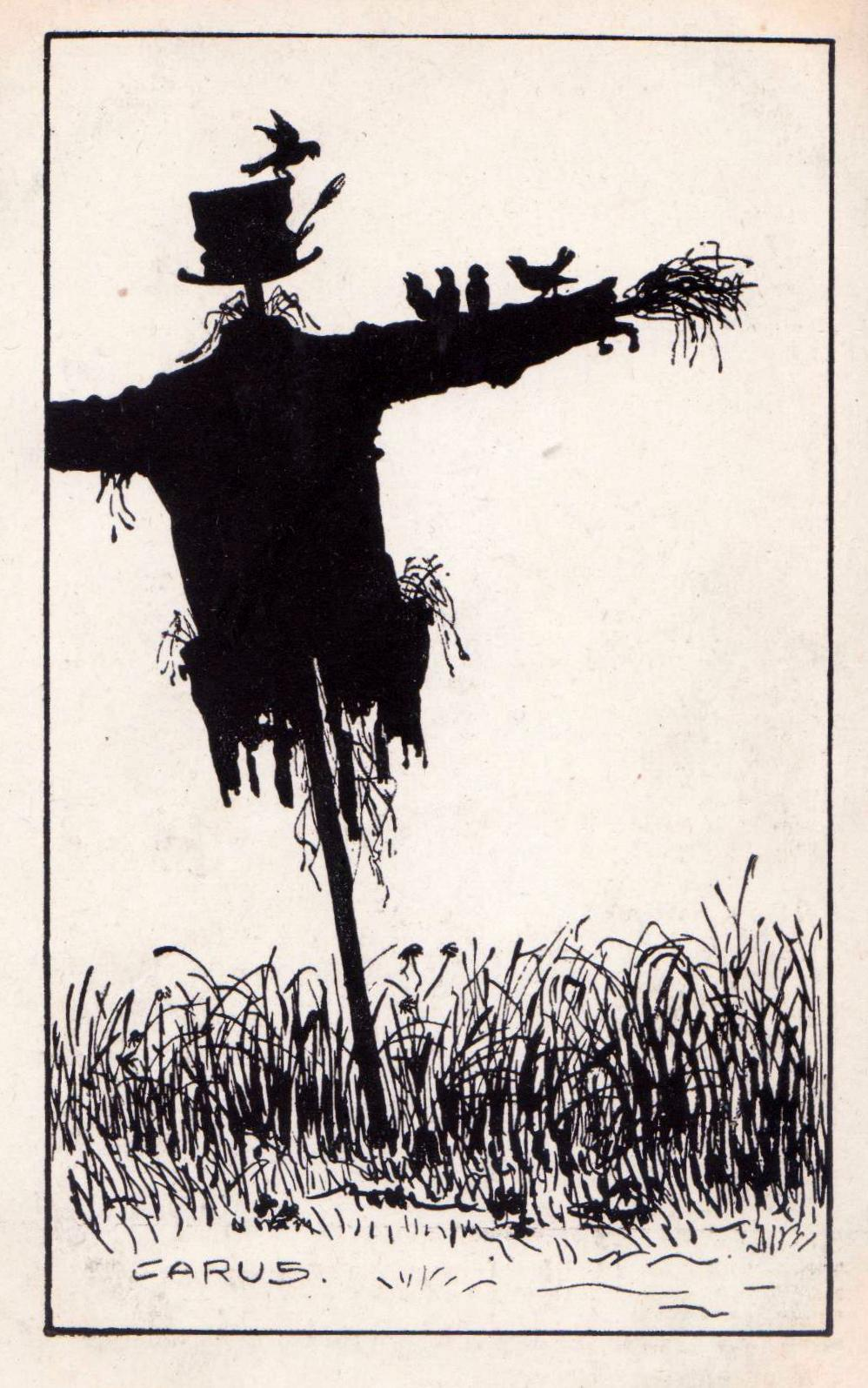 Scarecrow . Drawing by Carus ( silhouette technique ). Postcard from 1910 - 1915. Publisher: Berliner Tierschutz - Berein. Berlin SW. Public Domain