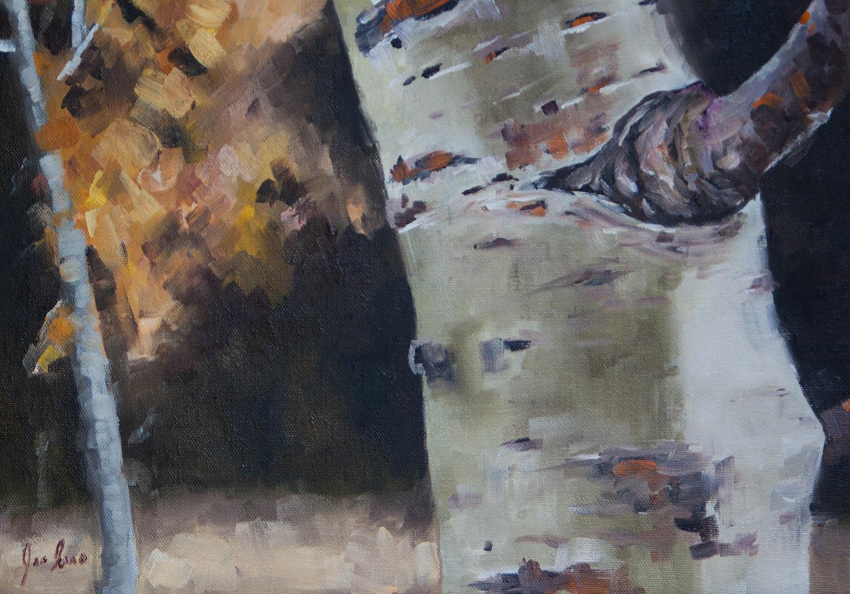 """Harmon Lake Aspens 2"" is an oil painting by Joe Enns of a trembling aspens grove near Merritt, British Columbia."