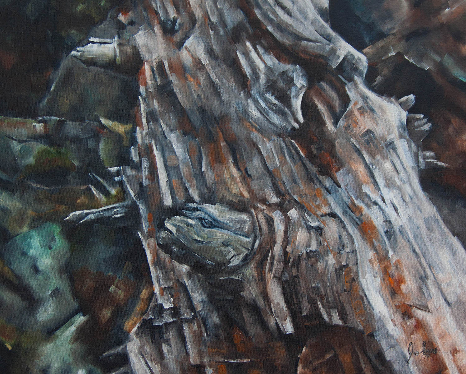 """Lindeman Lake Deadwood"" is a still life oil painting by Joe Enns from a photo that Joe took while on a hike up to Lindeman Lake in Chilliwack Lake Provincial Park near Chilliwack, British Columbia."
