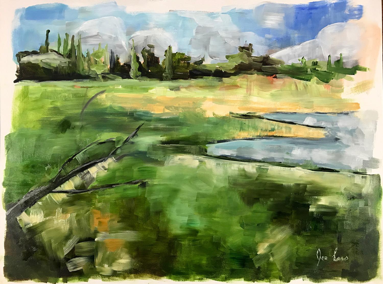 """""""Plateau Lake Plein Air"""" is a landscape painting by Joe Enns done outdoors ( plein air)  at Plateau Lake near Merritt, British Columbia."""